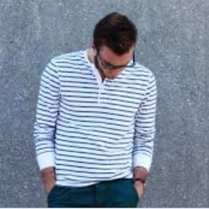 J.Crew Henley Striped Long Sleeve Shirt Men